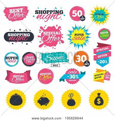Sale shopping banners. Wallet with cash coin and piggy bank moneybox symbols. Dollar USD currency sign. Web badges, splash and stickers. Best offer. Vector