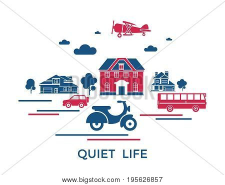 Digital vector blue red city transport icons with drawn simple line art info graphic, presentation with motorcycle, bus and building elements around promo template, quiet life, flat style