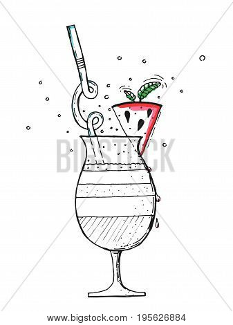 Watermelon smoothie in glass with mint and straw. Watermelon smoothie hand drawn on white background. Watermelon smoothie vector illustration. Watermelon smoothie sketch illustration.