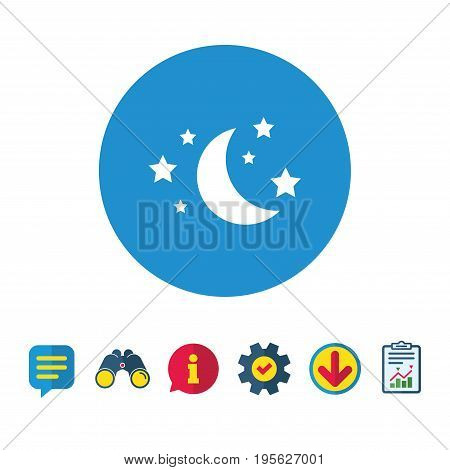 Moon and stars icon. Sleep dreams symbol. Night or bed time sign. Information, Report and Speech bubble signs. Binoculars, Service and Download icons. Vector