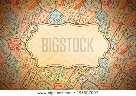 A lot of colorful International travel visa rubber stamps imprints on old paper with retro frame, horizontal vintage background