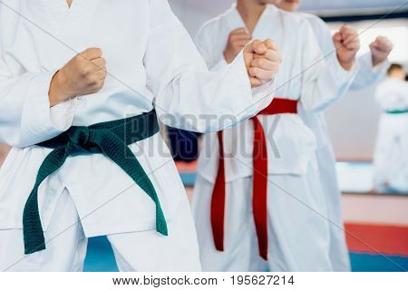 Children In Kimonos On Training Indoors, Toned Image, Color Image