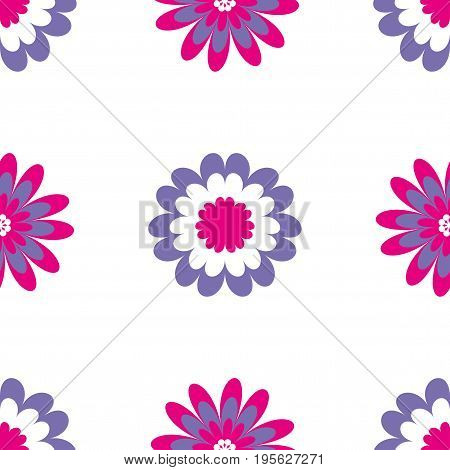 Floral seamless pattern. Vector illustration with abstract flowers. Repeating background for printing on fabric, textiles, surfaces, paper, wrapper. Two colors pink and purple. Bright, simple design