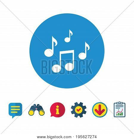 Music notes sign icon. Musical symbol. Information, Report and Speech bubble signs. Binoculars, Service and Download icons. Vector