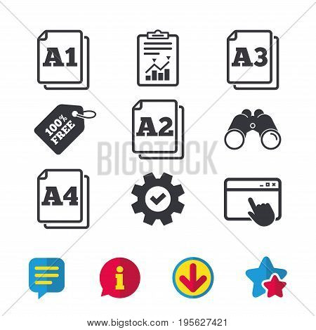 Paper size standard icons. Document symbols. A1, A2, A3 and A4 page signs. Browser window, Report and Service signs. Binoculars, Information and Download icons. Stars and Chat. Vector