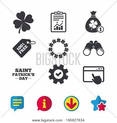 Saint Patrick day icons. Money bag with coin and clover sign. Wreath of quatrefoil clovers. Symbol of good luck. Browser window, Report and Service signs. Binoculars, Information and Download icons