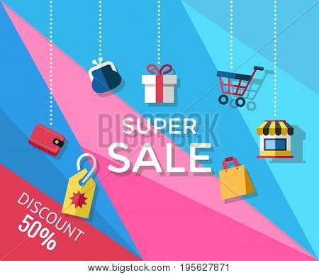 Digital vector yellow blue pink shopping super sale icons with drawn simple line art info graphic, presentation with money, shop and card elements around promo template, flat style