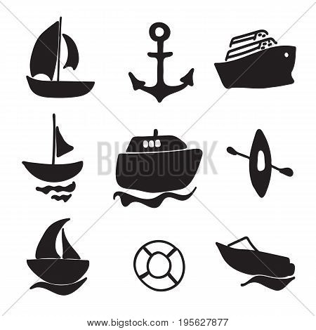Black pictures. Set of sea simple icons