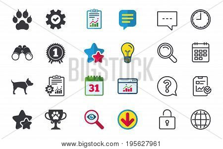 Pets icons. Cat paw with clutches sign. Winner cup and medal symbol. Dog silhouette. Chat, Report and Calendar signs. Stars, Statistics and Download icons. Question, Clock and Globe. Vector