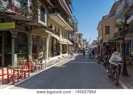 LEFKADA TOWN, GREECE - JULY 17, 2014: Panoramic view of street in  Lefkada town, Ionian Islands, Greece