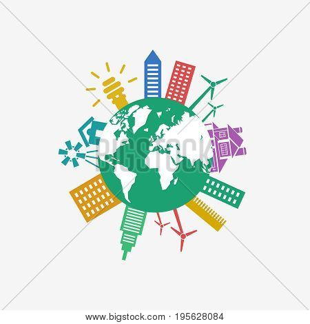 Digital vector green ecology icons with drawn simple line art info graphic, planet earth, presentation with recycle, alternative energy elements around promo poster template, flat style