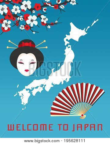 Welcome to Japan poster template. Vector illustration with map of Japan, face of geisha, paper fan and sakura cherry blossom
