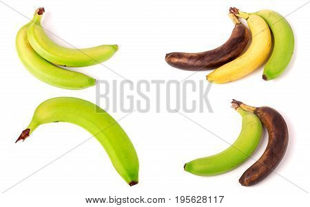 Immature, mature and overripe bananas on white background. Set or collection.