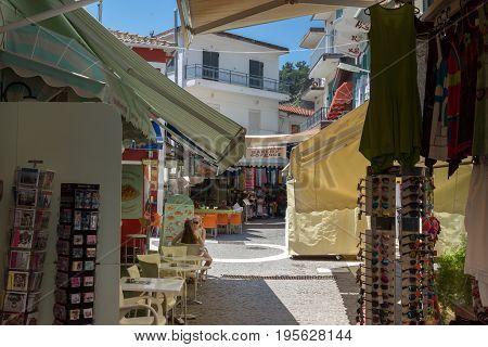 PARGA, GREECE - JULY 17, 2014: Typical street in town of Parga, Epirus, Greece