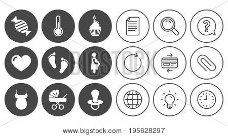Pregnancy, maternity and baby care icons. Candy, baby carriage and pacifier signs. Footprint, cake and thermometer symbols. Document, Globe and Clock line signs. Lamp, Magnifier and Paper clip icons