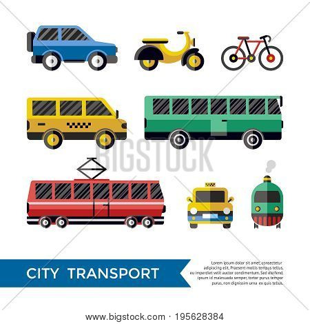Digital vector blue red yellow city transport icons set with drawn simple line art info graphic, presentation with car, tram and taxi elements around promo template, flat style