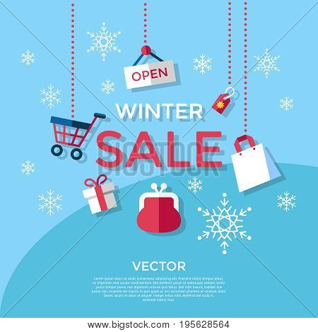Digital vector blue winter sale shopping icons with drawn simple line art info graphic, presentation with money, commerce and economy elements around promo template, flat style