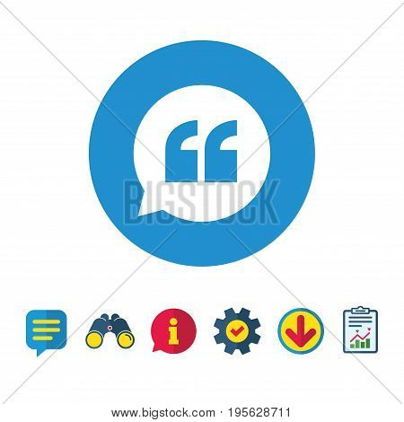 Quote sign icon. Quotation mark in speech bubble symbol. Double quotes. Information, Report and Speech bubble signs. Binoculars, Service and Download icons. Vector