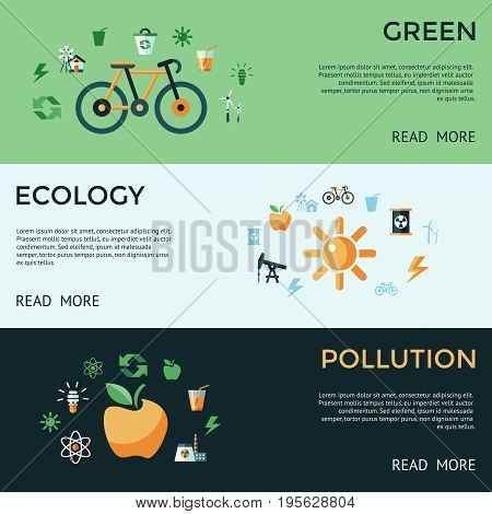Digital vector green ecology icons with drawn simple line art info graphic, presentation with recycle, pollution and alternative energy elements around promo template, flat style