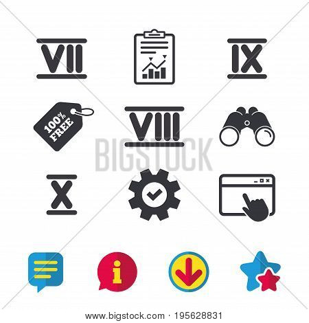 Roman numeral icons. 7, 8, 9 and 10 digit characters. Ancient Rome numeric system. Browser window, Report and Service signs. Binoculars, Information and Download icons. Stars and Chat. Vector