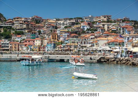 PARGA, GREECE - JULY 17, 2014: Amazing Panoramic view from embankment of town of Parga, Epirus, Greece