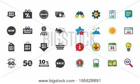 Set of Shopping, Sale and Discounts icons. Gift box, Deal and Shopping cart signs. Special offer symbols. Calendar, Report and Browser window signs. Stars, Service and Download icons. Vector