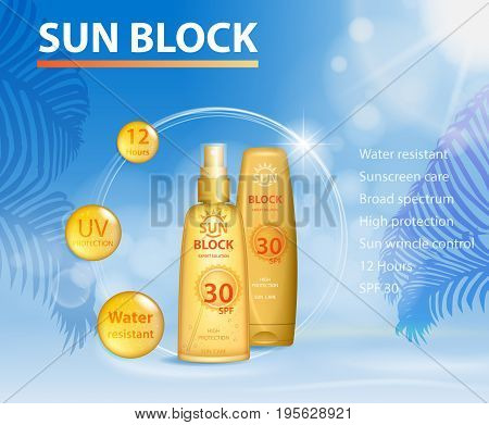 Sunblock ads template, sun care protection cosmetic products design face and body cream and oil on palm beach summer background. UV protect. vector illustration EPS 10