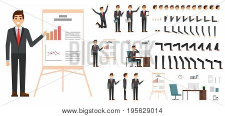 Character vector set. Male businessman character design in flat design isolated. Emotions, face, leg and arms and other parts for animation creation.