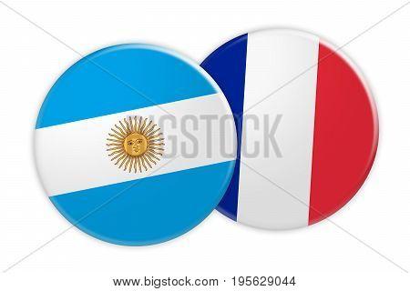 News Concept: Argentina Flag Button On France Flag Button 3d illustration on white background
