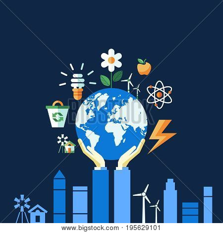 Digital vector blue ecology icons with drawn simple line art info graphic, hand holding planet earth, presentation with recycle, alternative energy elements around promo poster template, flat style