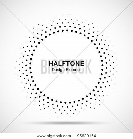 Halftone vector circle frame dots logo emblem, design element for medical, treatment, cosmetic. Round border Icon using halftone circle dots raster texture.