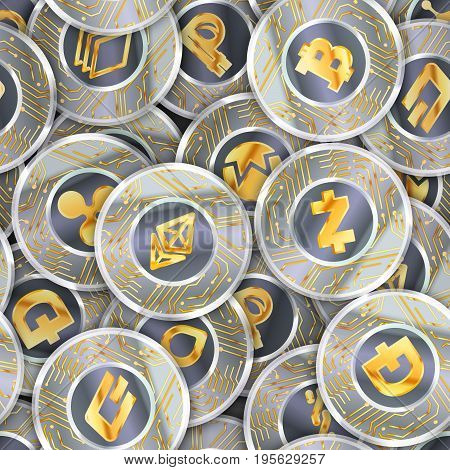 Seamless pattern with a lot of coins with microchip pattern and most popylar cryptocurrency signs like- Bitcoin, Ethereum, Ripple, Litecoin, Peercoin, NXT, Namecoin, BitShares, Stratis, Dash, Dogecoin and Zcash