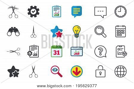 Scissors icons. Hairdresser or barbershop symbol. Scissors cut hair. Cut dash dotted line. Tailor symbol. Chat, Report and Calendar signs. Stars, Statistics and Download icons. Vector