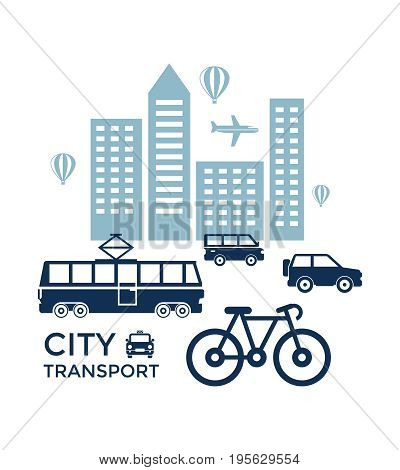 Digital vector blue city transport icons with drawn simple line art info graphic, presentation with car, tram and building elements around promo template, flat style