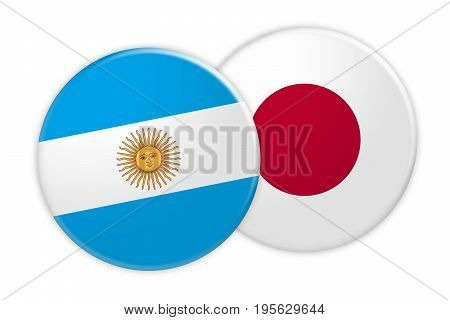 News Concept: Argentina Flag Button On Japan Flag Button 3d illustration on white background