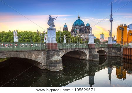 BERLIN, GERMANY - JUNE 15, 2017: Architecture of city center in Berlin, Germany. Berlin is the capital and the largest city of Germany with a population of approximately 3.7 million people.
