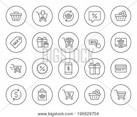 Shopping line icons. Gifts, Presents and Sale offer signs. Shopping cart, Tags and Delivery symbols. Speech bubble, Discount and Credit card. Online buying. Circle buttons with linear elements