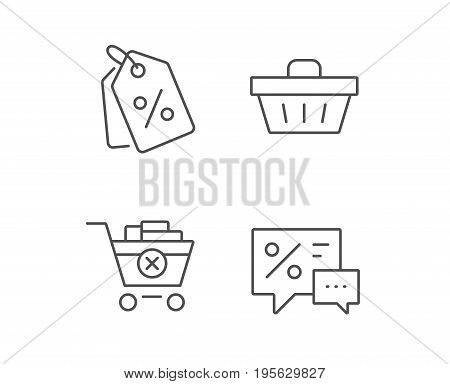 Shopping cart, Discount Coupons and Sale icons. Speech bubble symbol. Online buying. Quality design elements. Editable stroke. Vector