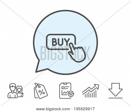 Click to Buy line icon. Online Shopping sign. E-commerce processing symbol. Report, Sale Coupons and Chart line signs. Download, Group icons. Editable stroke. Vector