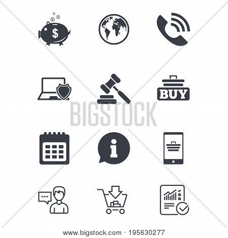Online shopping, e-commerce and business icons. Auction, phone call and information signs. Piggy bank, calendar and smartphone symbols. Customer service, Shopping cart and Report line signs. Vector