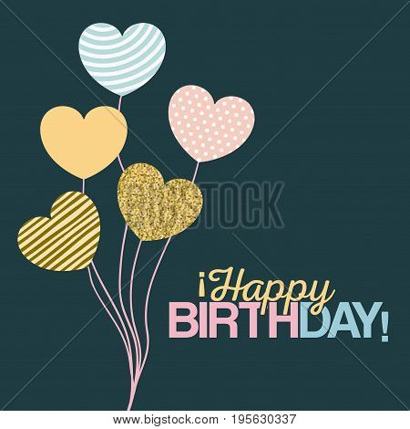 color dark green background with decorative balloons in the shape of a heart with text happy birthday vector illustration