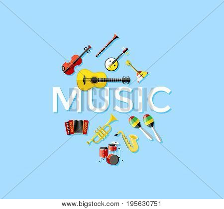 Digital vector blue music instruments icons with drawn simple line art info graphic, presentation with guitar, piano, drums and sound elements around promo template, flat style