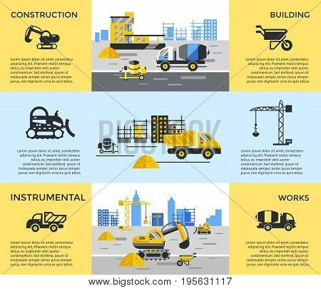 Digital vector blue yellow construction building tracks icons with drawn simple line art info graphic, presentation with crane, road, grout, excavator and cement elements around promo template
