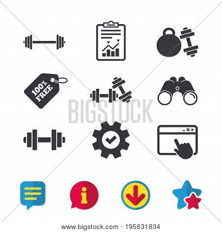 Dumbbells sign icons. Fitness sport symbols. Gym workout equipment. Browser window, Report and Service signs. Binoculars, Information and Download icons. Stars and Chat. Vector