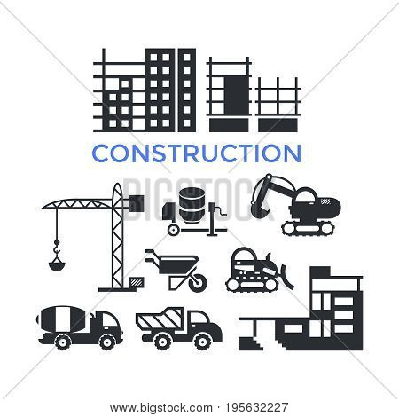 Digital vector black construction building tracks icons with drawn simple line art info graphic, presentation with crane, grout, excavator and cement elements around promo template, flat style
