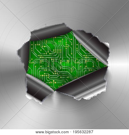 Torn hole in glossy round polished metal plate on complicated computer microchip on green