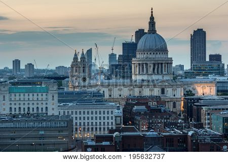 LONDON, ENGLAND - JUNE 18, 2016: Amazing Sunset panorama from Tate modern Gallery to city of London, England, Great Britain