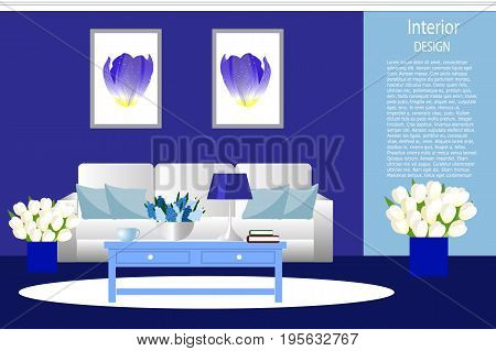 The interior of the living room. Room in a bright blue color white sofa with cushions a vase with flowers. Cartoon. Vector.