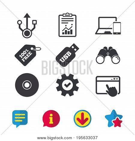 Usb flash drive icons. Notebook or Laptop pc symbols. Smartphone device. CD or DVD sign. Compact disc. Browser window, Report and Service signs. Binoculars, Information and Download icons. Vector