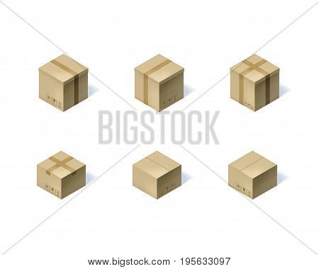 Set of six isometric cardboard boxes isolated on white background. Vector illustration